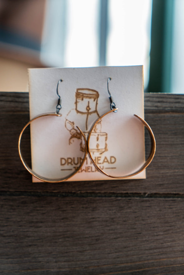 Bronze Hoop Earrings Drumhead Jewelry