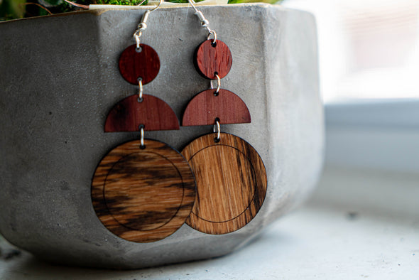 OKB Exotic Wood Earrings - Falling Circles