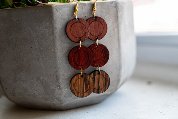 OKB Exotic Wood Earrings - Droppin Circles