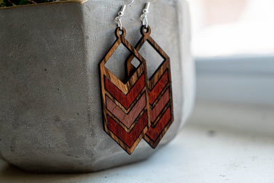 OKB Exotic Wood Earrings - Inlay Arrows