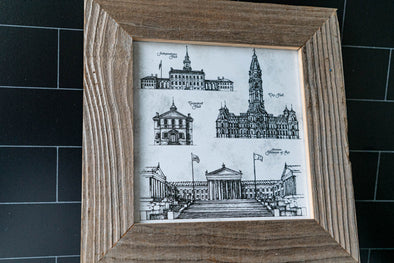 Vintage Philly Landmark Illustration Print & Reclaimed Wood Frame