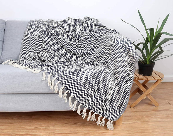 Patterned Cotton Throw Blanket - 50 x 70 - Style Options