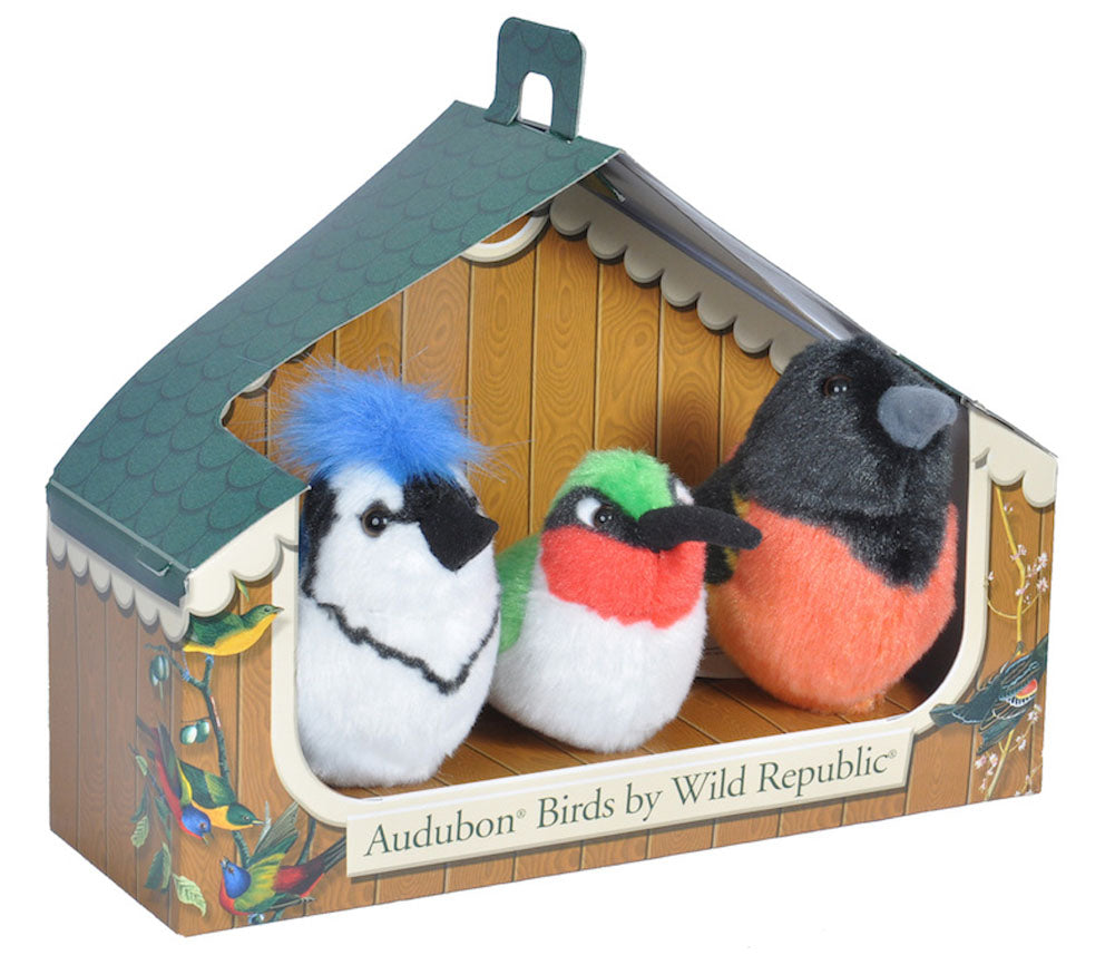 Set of 3 Audubon Bird Plush with Sound