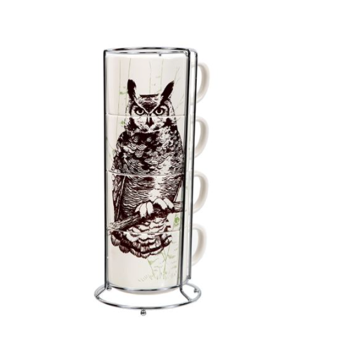 Great Horned Owl Stacking Mug Set