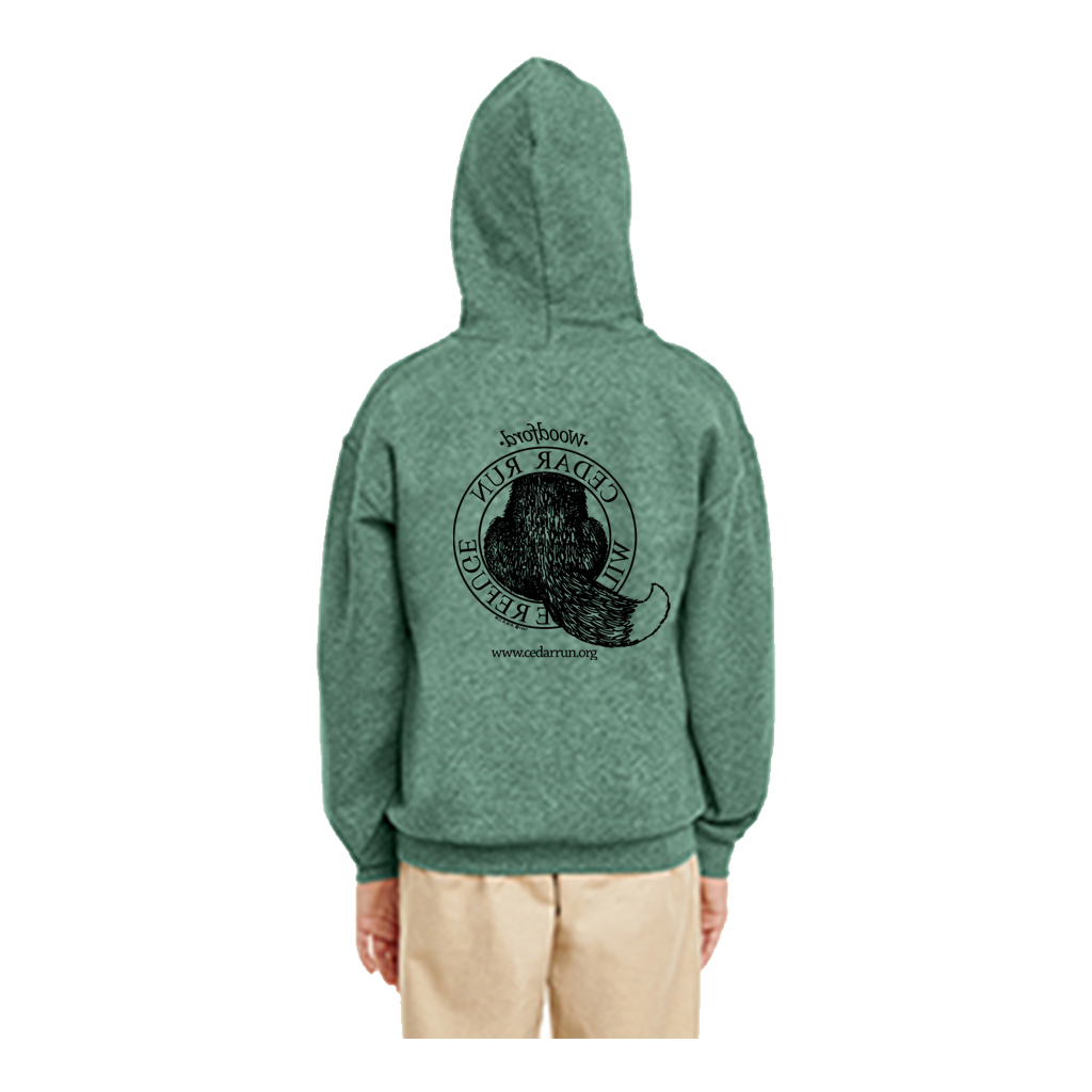 Youth Pullover Hooded Sweatshirt with Black Logo