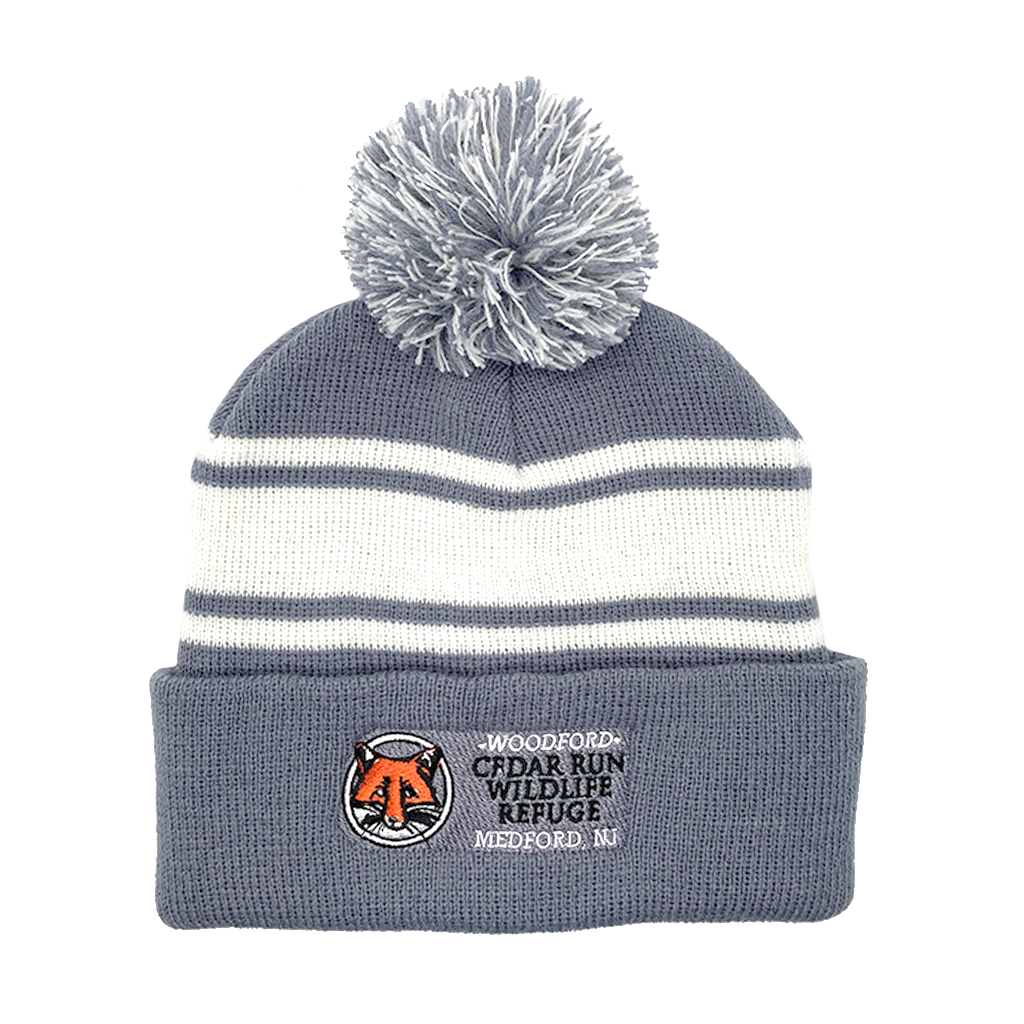 Pom-Pom Beanie Hat with Embroidered Cedar Run Logo
