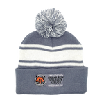 Load image into Gallery viewer, Pom-Pom Beanie Hat with Embroidered Cedar Run Logo