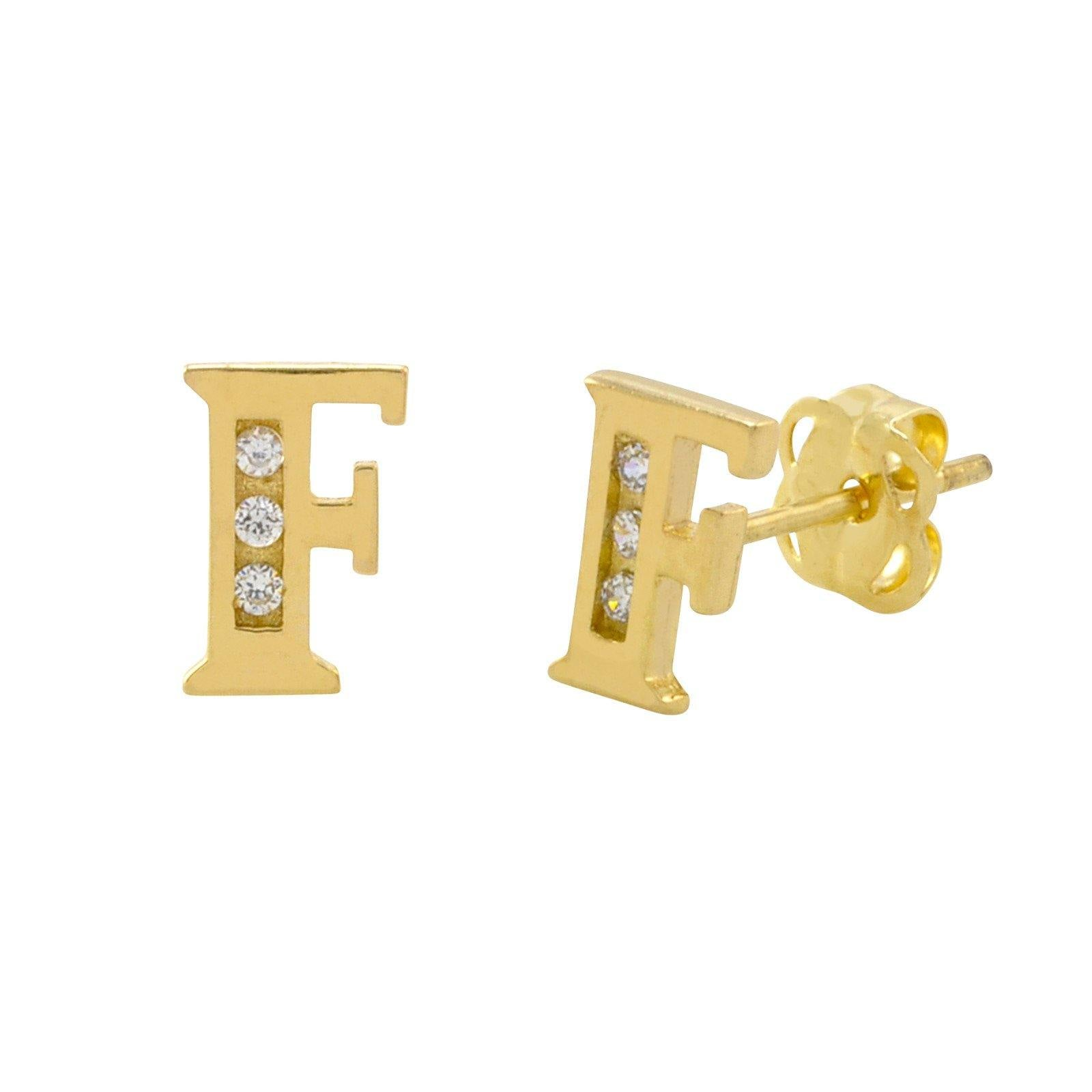 Yellow Gold Initial Earrings Letter F