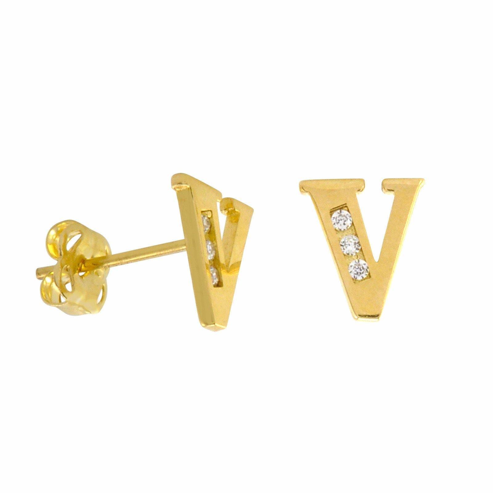 initial earring gold s worn delicate in rose stud earrings