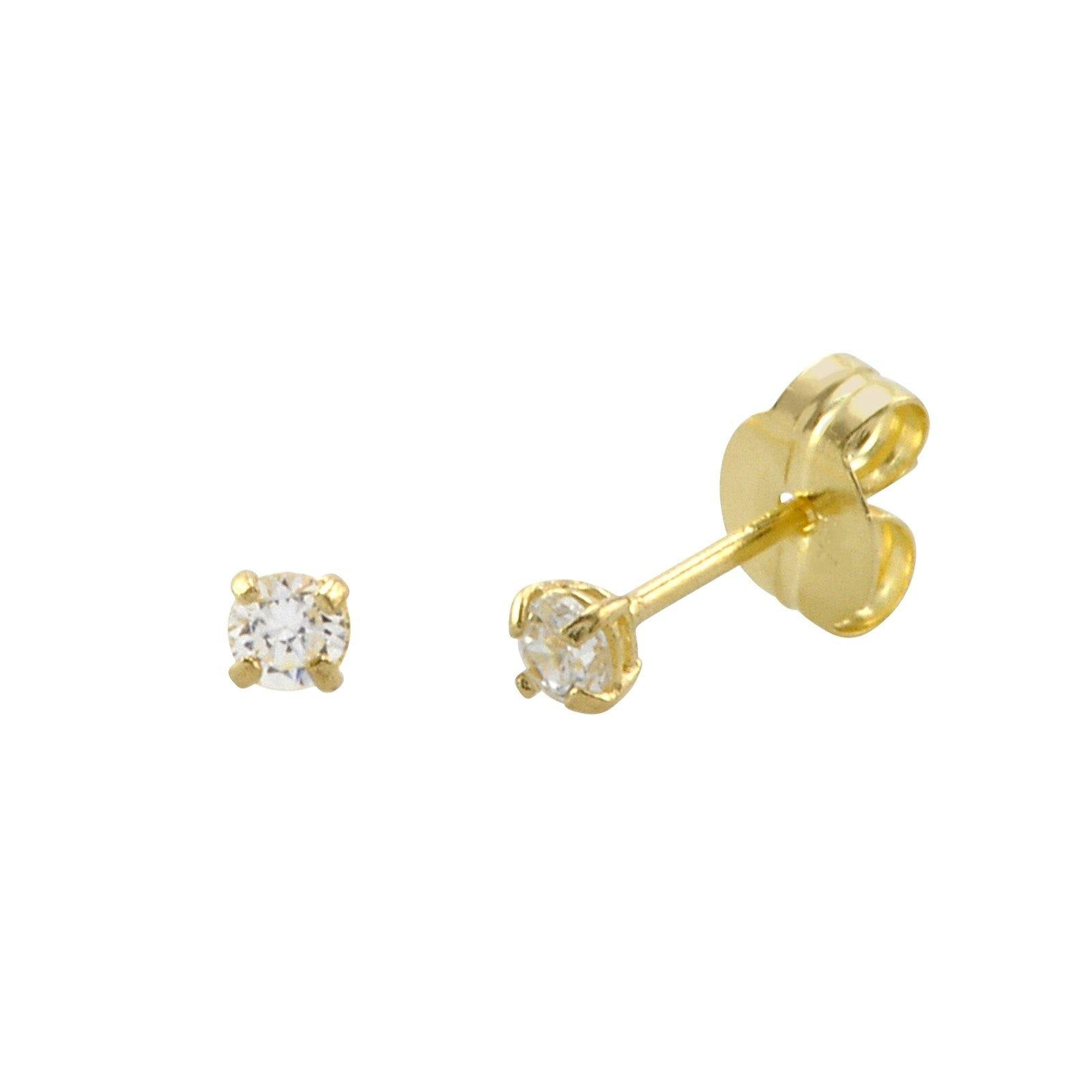 stud products cubic zirconia earrings gold elephant white screwbacks cz color tri