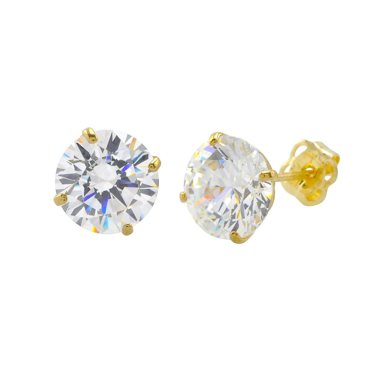 0c61e8b71 10k Yellow Gold Round Clear Cubic Zirconia CZ Stud Earrings Basket Setting