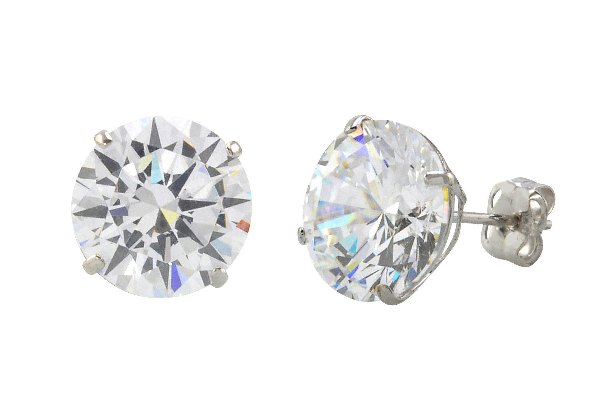 4fdbe733e 10k White Gold Round Clear Cubic Zirconia CZ Stud Earrings Basket Setting