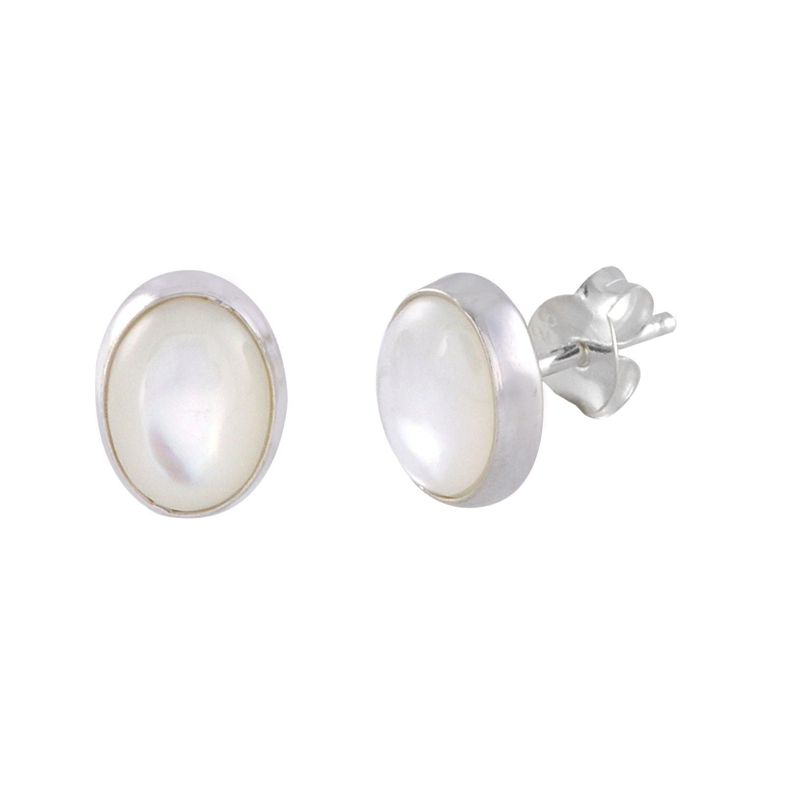 Mother Of Pearl Gemstone Stud Earrings 925 Sterling Silver Oval 7mm X 9mm