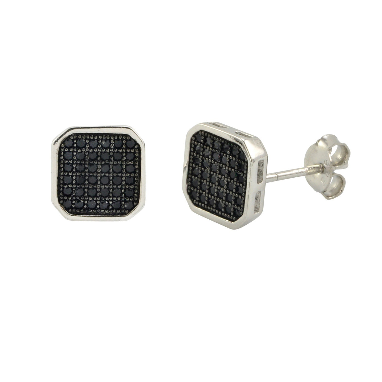 a2282468a Mens Earrings 925 Sterling Silver Black Pave Cubic Zirconia CZ 9mm Square  Shaped