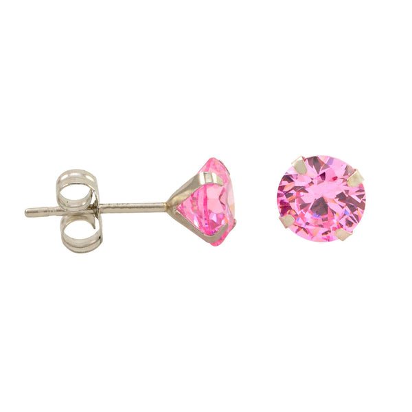10k White Gold Round Pink Cubic Zirconia Stud Earrings