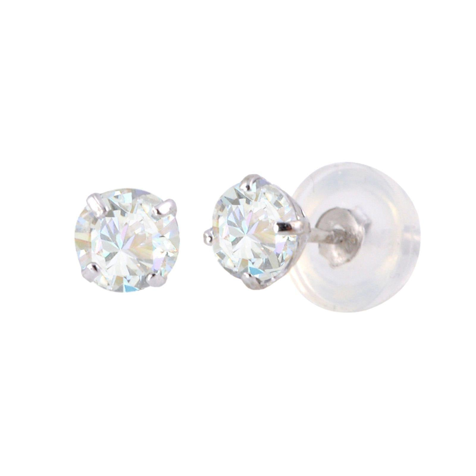 57233dfb4 14k White Gold Clear CZ Round Basket Cubic Zirconia Stud Earrings Silicone  Backs