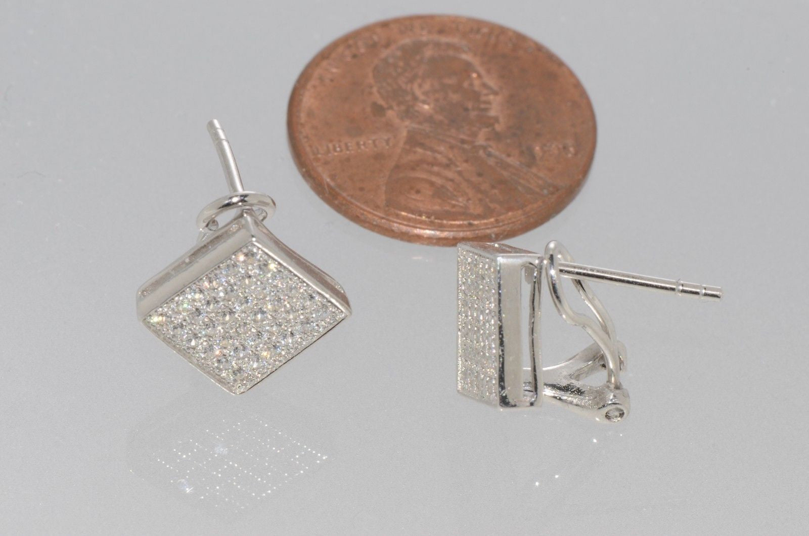 9.5 x 10 MM MSRP $159 Details about  /Sterling Silver CZ Square Post Earrings