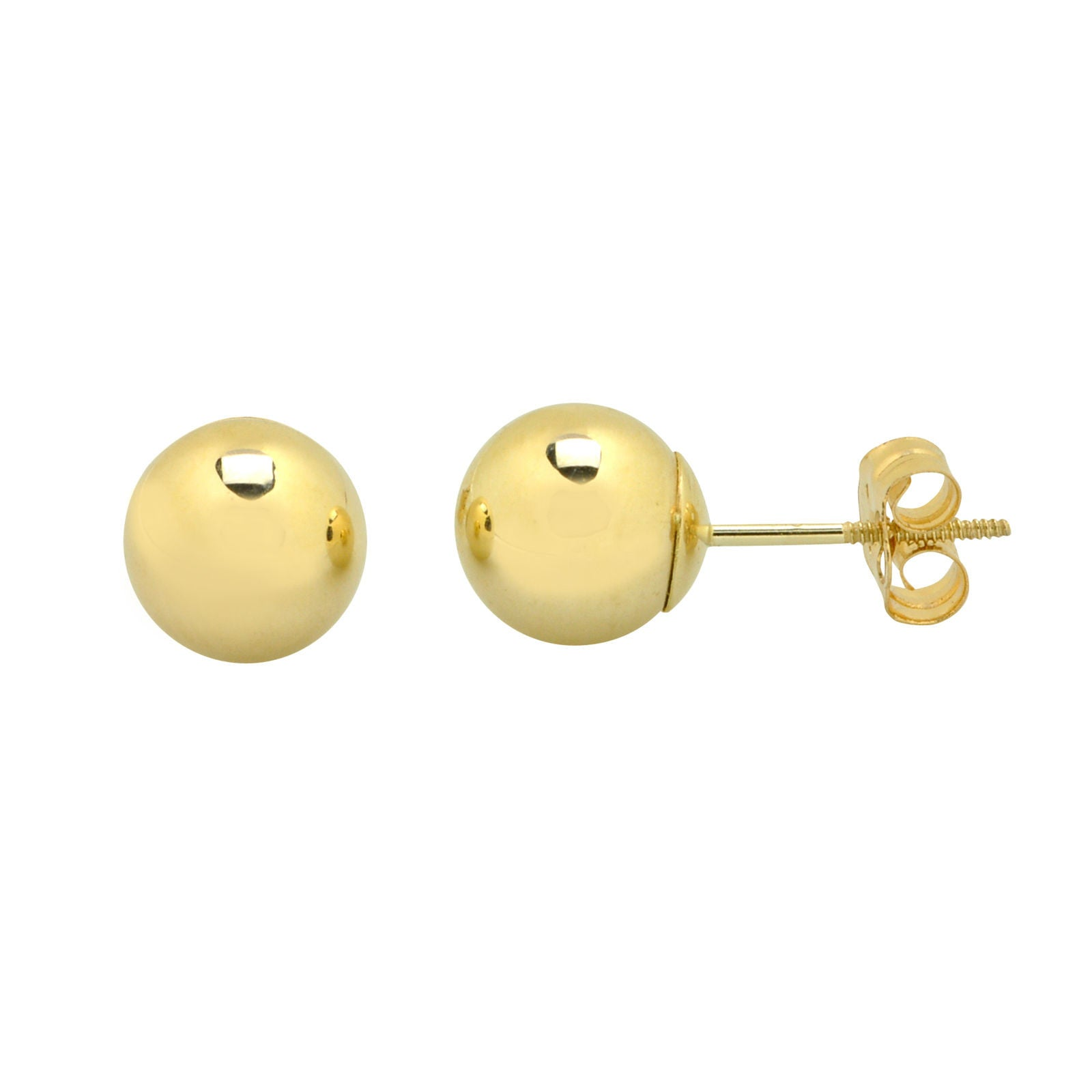 fff3b34e5 14k Yellow Gold Ball Stud Earrings Special Wing Nut Screwback High Polish -  New