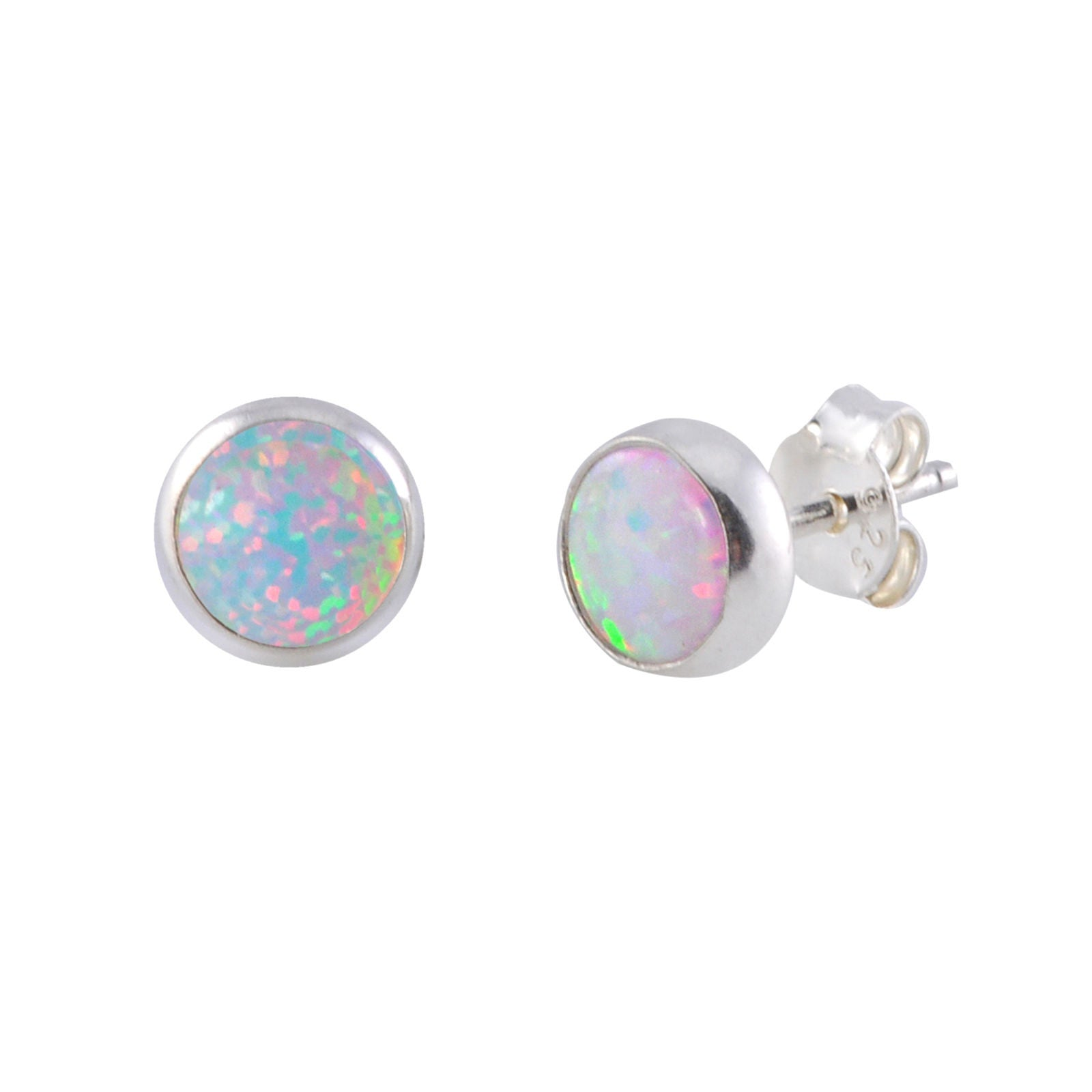 tsnjewelry opal natural stud shaped sterling ruby earrings genuine rose silver