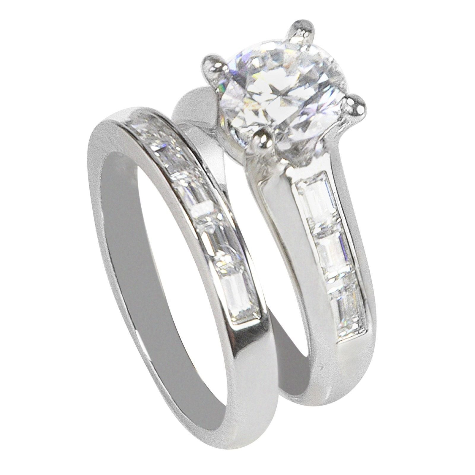 Sterling Silver 2ct CZ Wedding Band Bridal Set