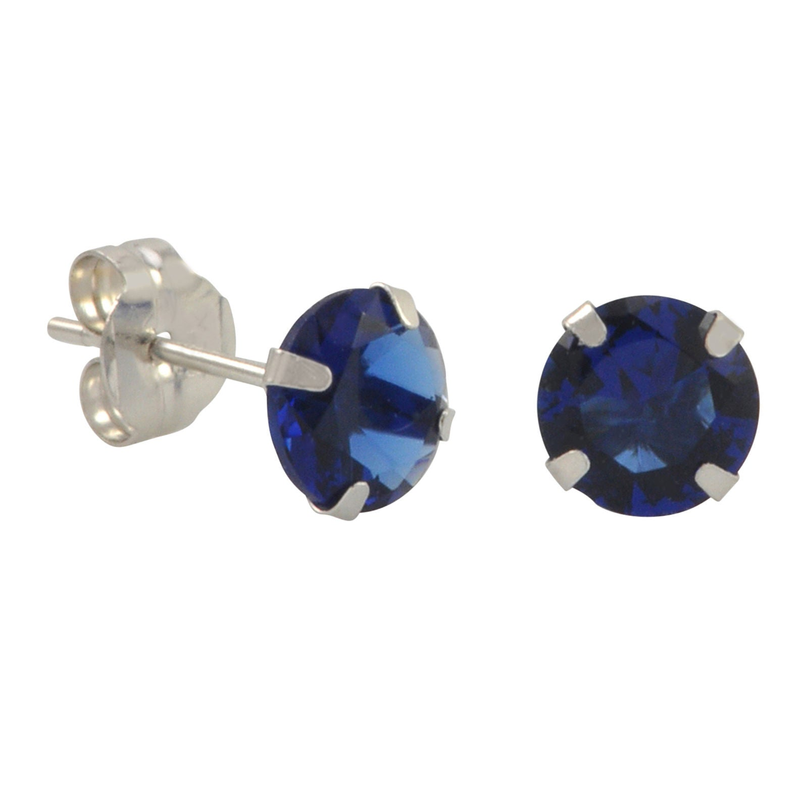 ad09bf188 10k White Gold Blue Sapphire CZ Stud Earrings Cubic Zirconia Round Prong Set