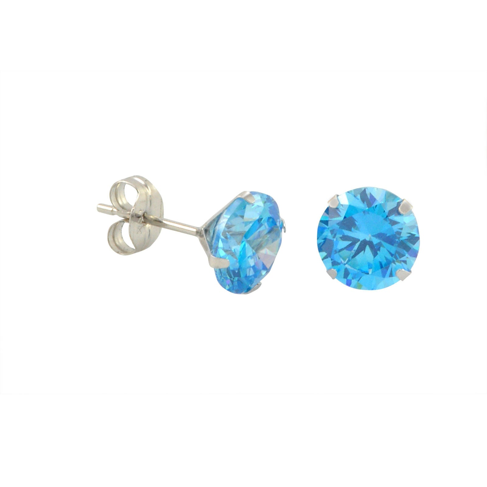 gold blue topaz round earrings stud