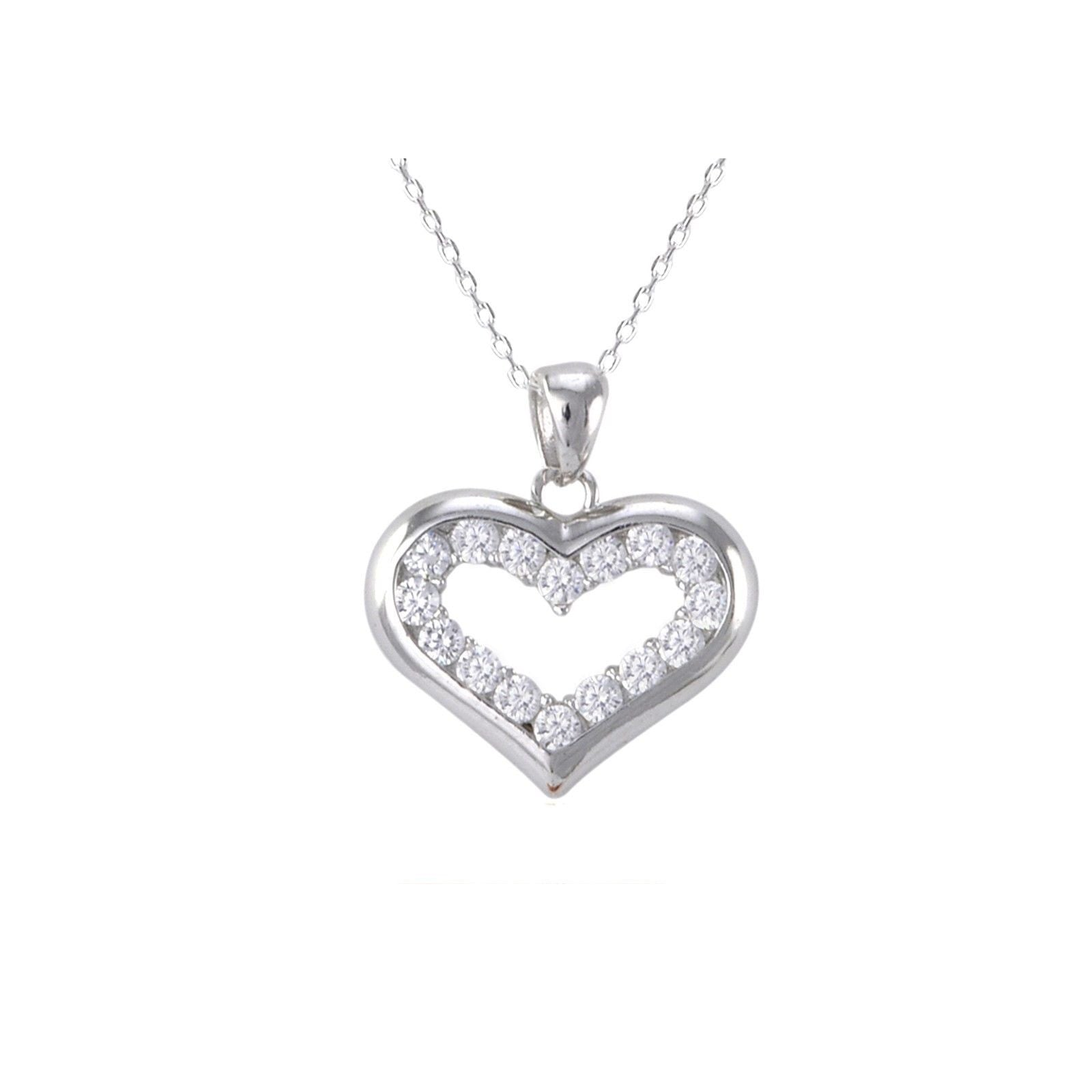 Sterling silver open heart pendant necklace white pave cz cubic sterling silver open heart pendant necklace white pave cz cubic zirconia stones aloadofball Images