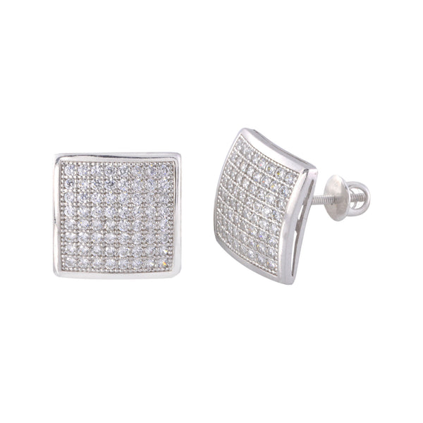 Mens Earrings 13mm Square Dome Sterling Silver Screwback ...