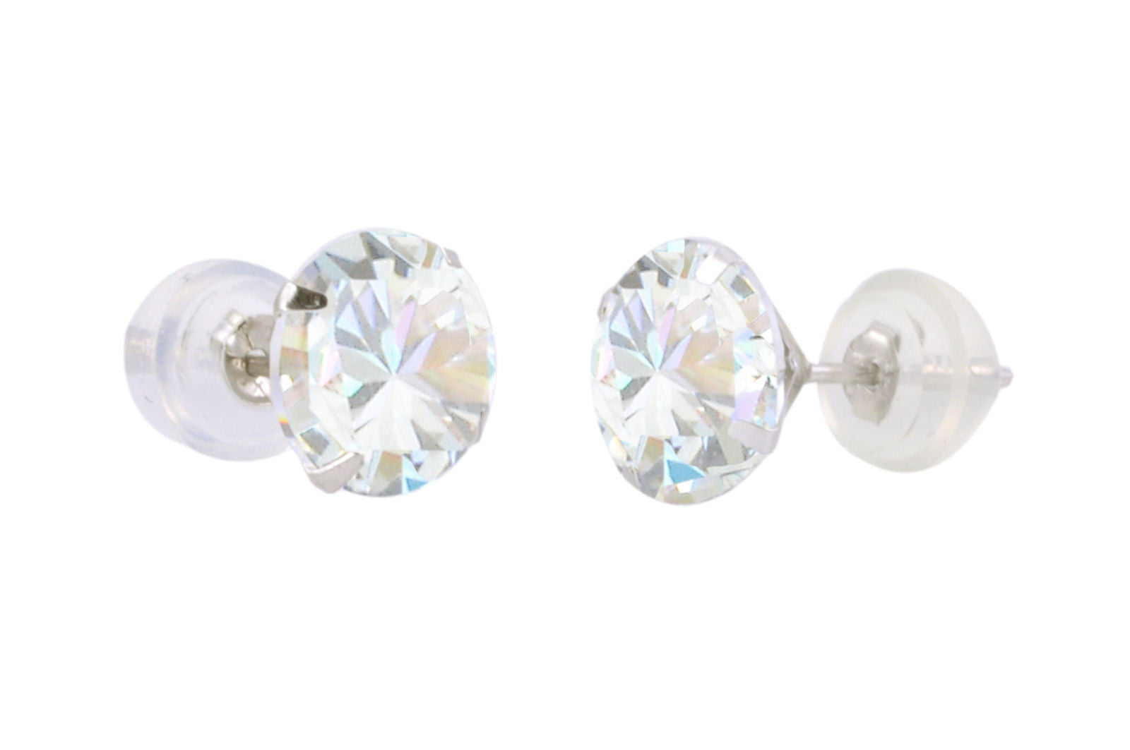 0d456aac1 14k White Gold Round CZ Cubic Zirconia Stud Earrings with Safety Silicone  Backs