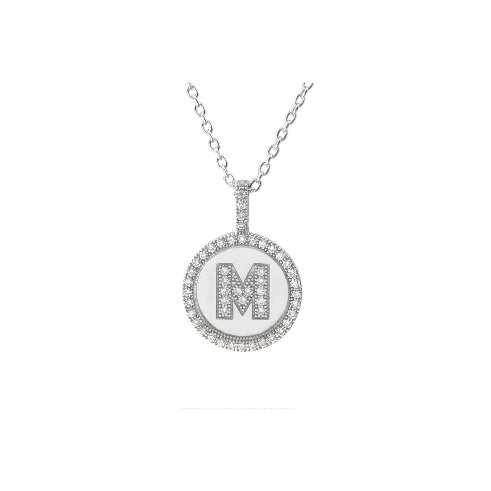 Initial necklace sterling silver letter g pendant cubic zirconia 16 sterling silver letter m initial pendant necklace cz cubic zirconia micropave mozeypictures Image collections