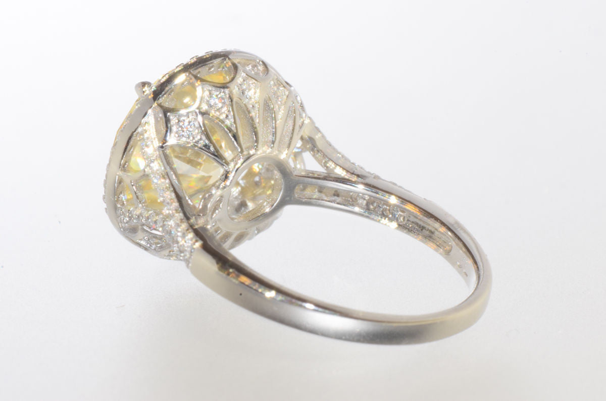 Sterling Silver Cushion Cut Canary Cubic Zirconia Ring 13mm Yellow