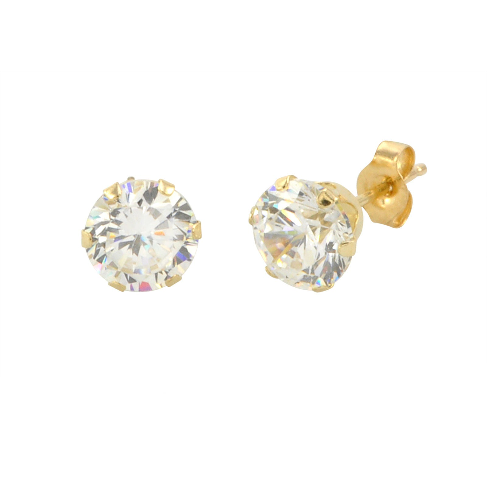 basket cubic gold clear zirconia products white silicone round cz stud backs earrings