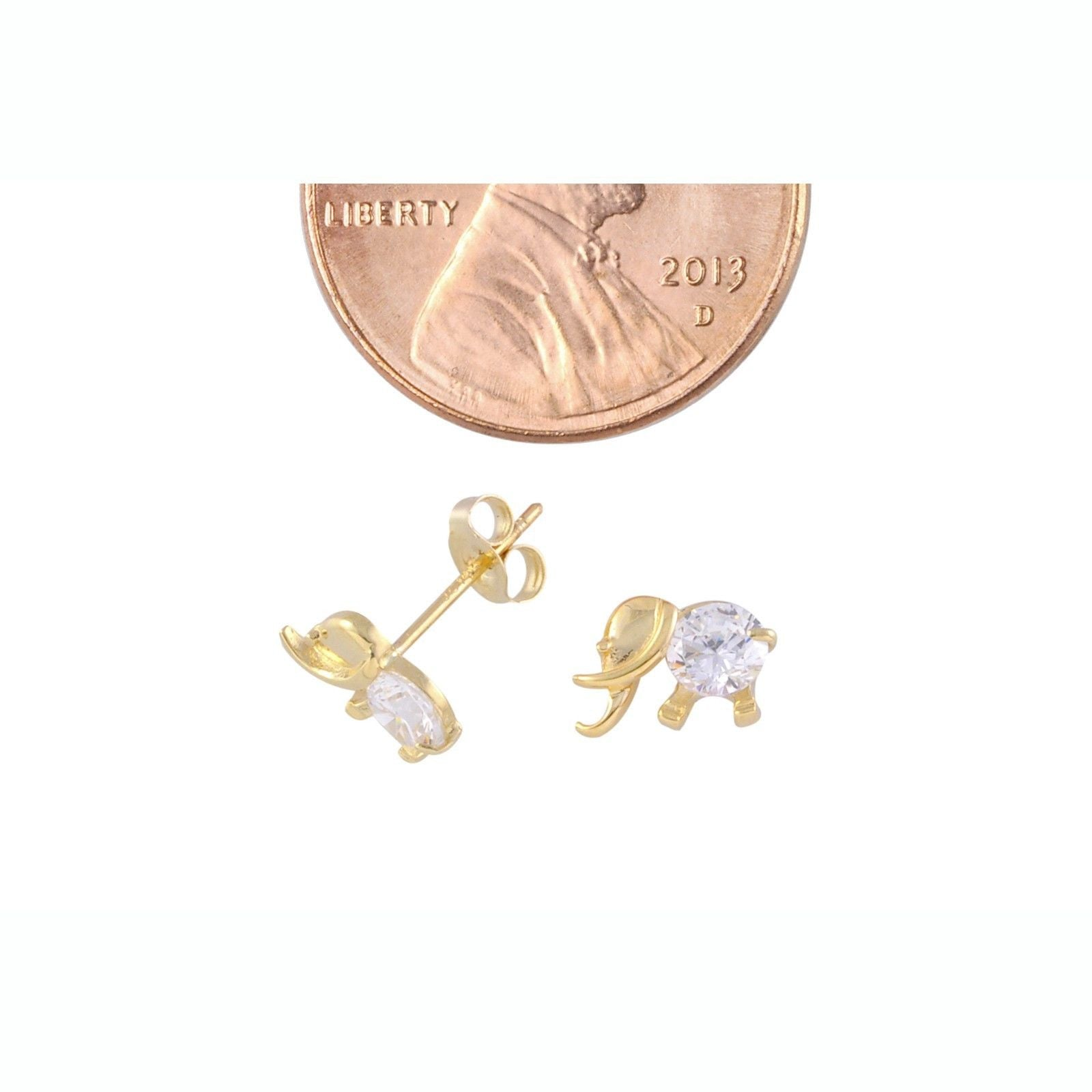 14k yellow gold elephant stud earrings 6mm x 8mm clear cz 14k yellow gold elephant stud earrings 6mm x 8mm clear cz freerunsca Images