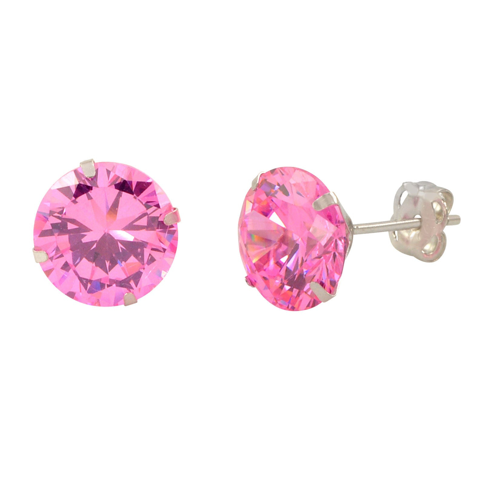 v cz jewelry bling pink topaz rose studs color heart zdc gold vermeil stud earrings