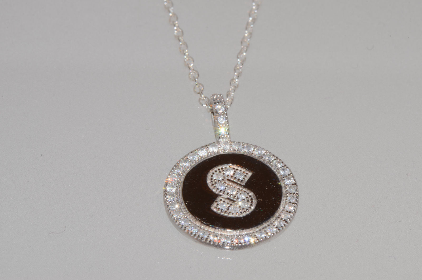 b7c752c114fc8 Sterling Silver Letter S Initial Necklace Micropave CZ Cubic Zirconia