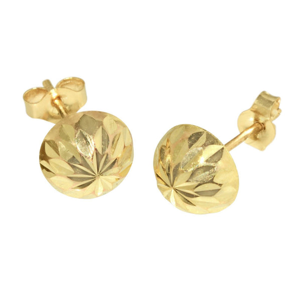 14k Yellow Gold Half Ball Stud Earrings Laser Cut