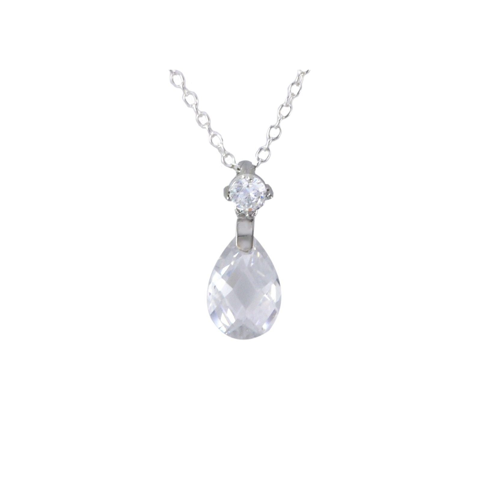Sterling silver teardrop necklace briolette faceted clear cz cubic sterling silver teardrop necklace briolette faceted clear cz cubic zirconia mozeypictures Image collections