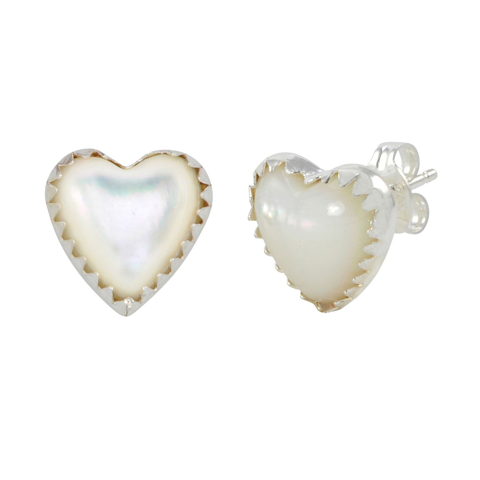 earrings sterling stud asp silver shaped heart colour three p