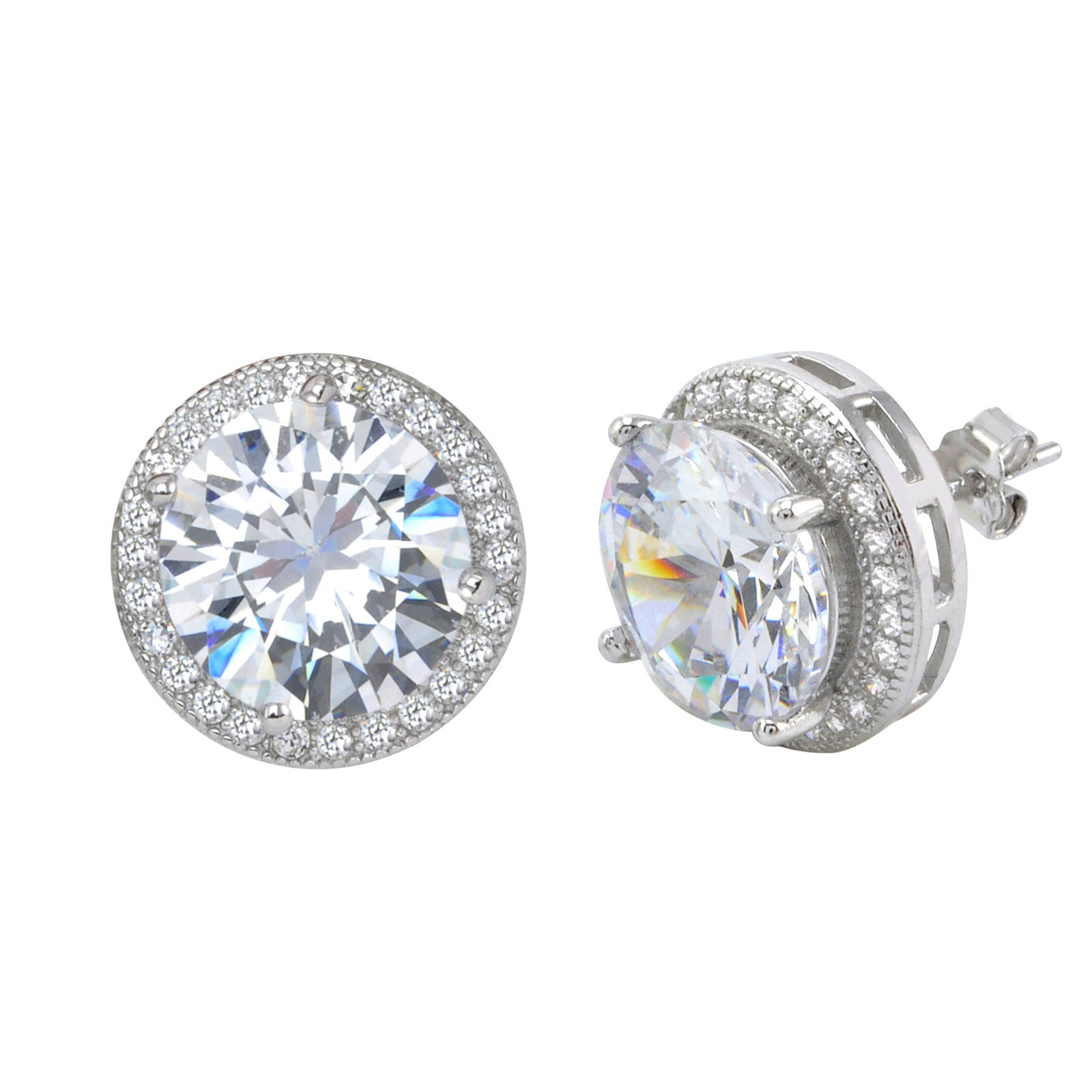 zirconia stud earring cubic earrings zoom jewellery simply sterling silver
