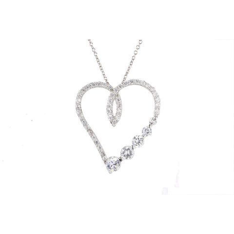9f779179e9a 925 Sterling Silver Large CZ Heart Necklace Cubic Zirconia