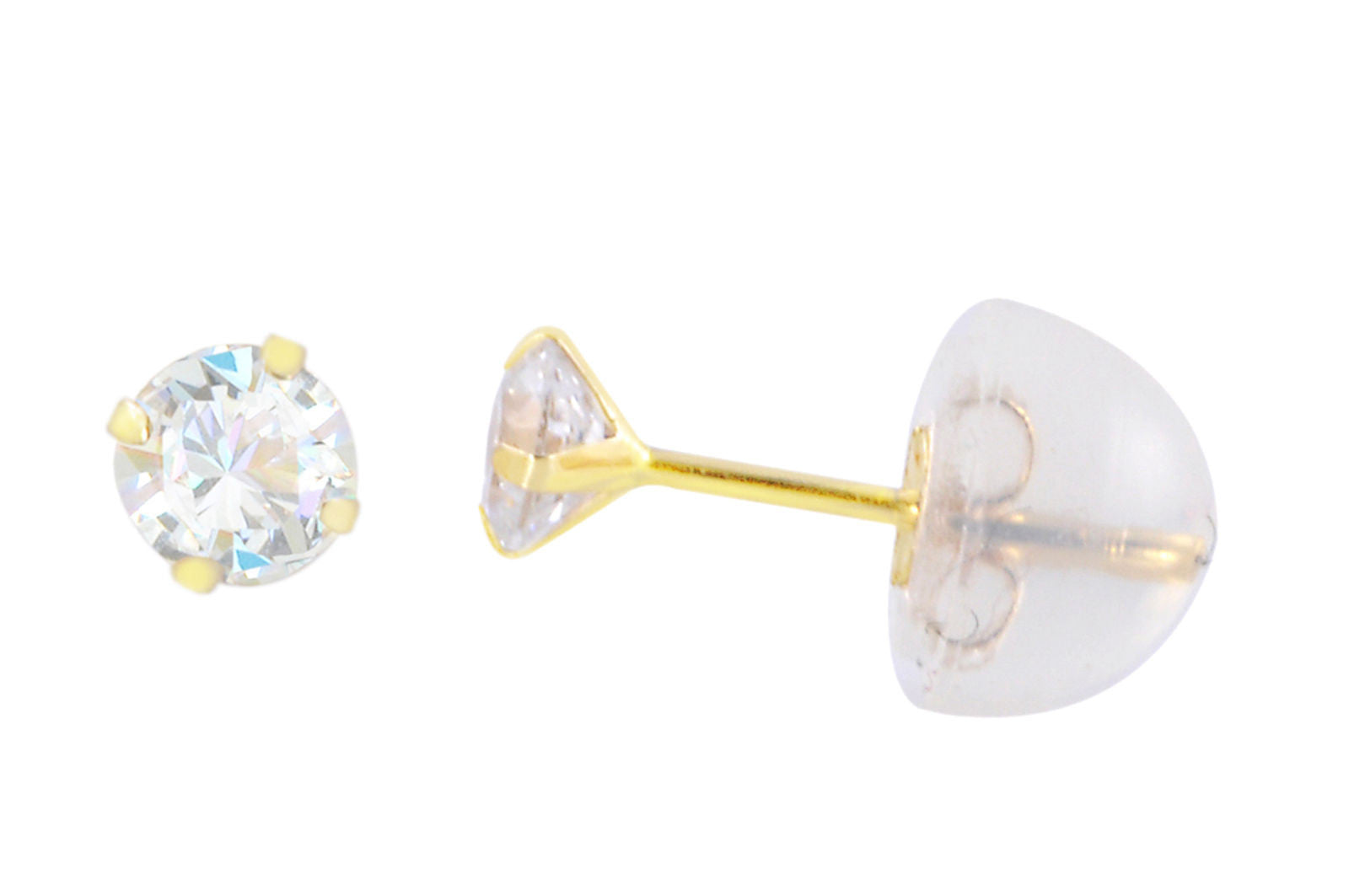 b3a9daea8 14k Yellow Gold Round CZ Cubic Zirconia Stud Earrings with Safety Silicone  Backs
