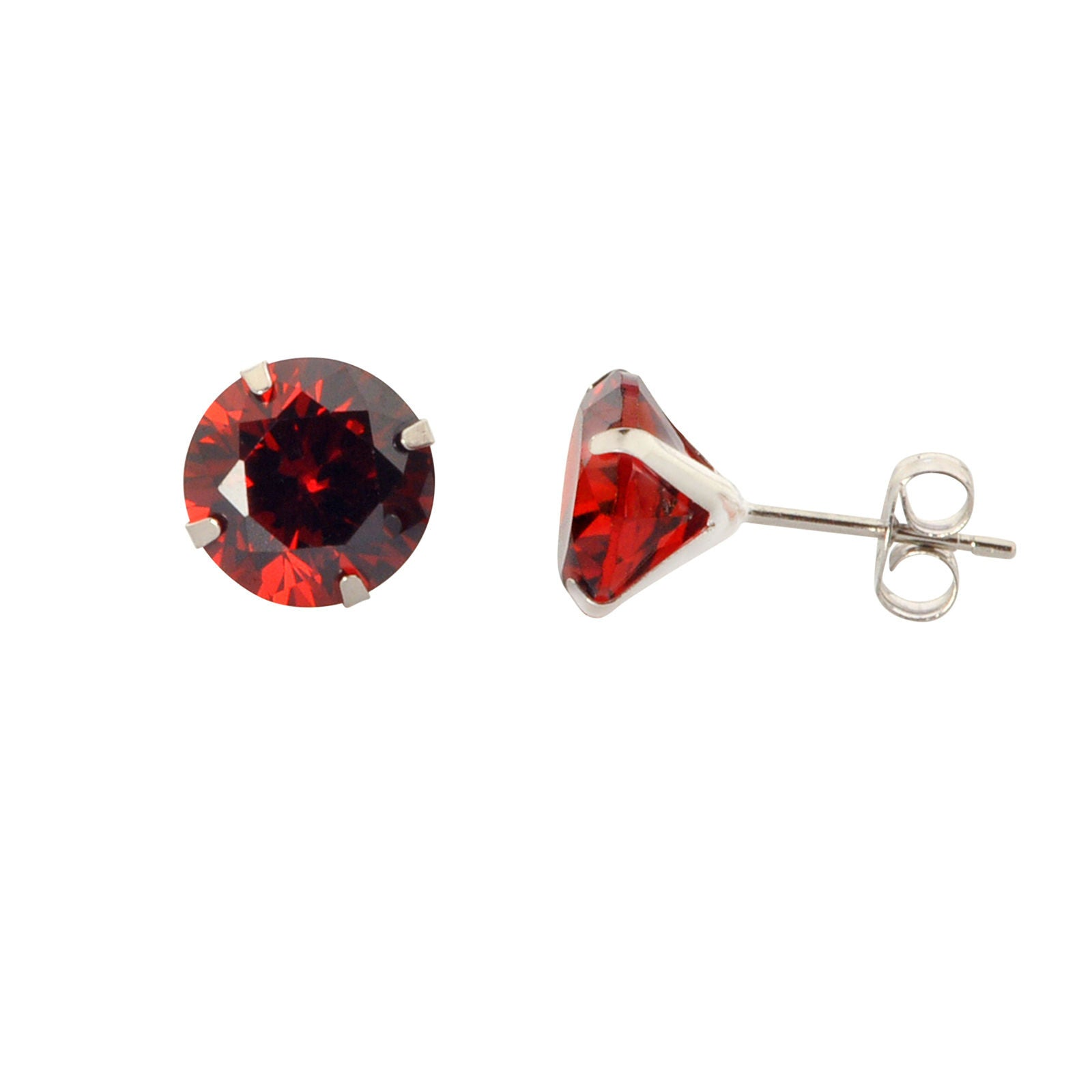 14k White Gold Round Red Cubic Zirconia Stud Earrings