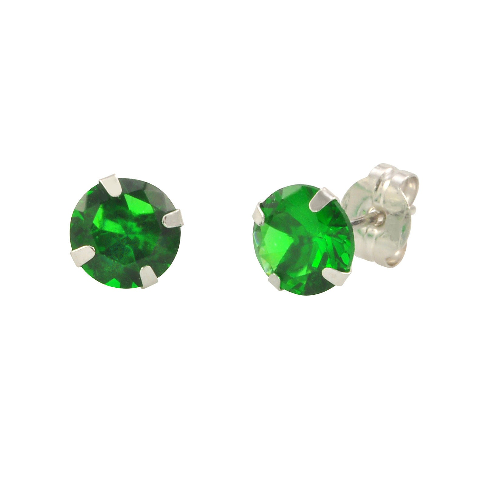 14k White Gold Emerald Green Cubic Zirconia Stud Earrings Round Birthstone  Cz