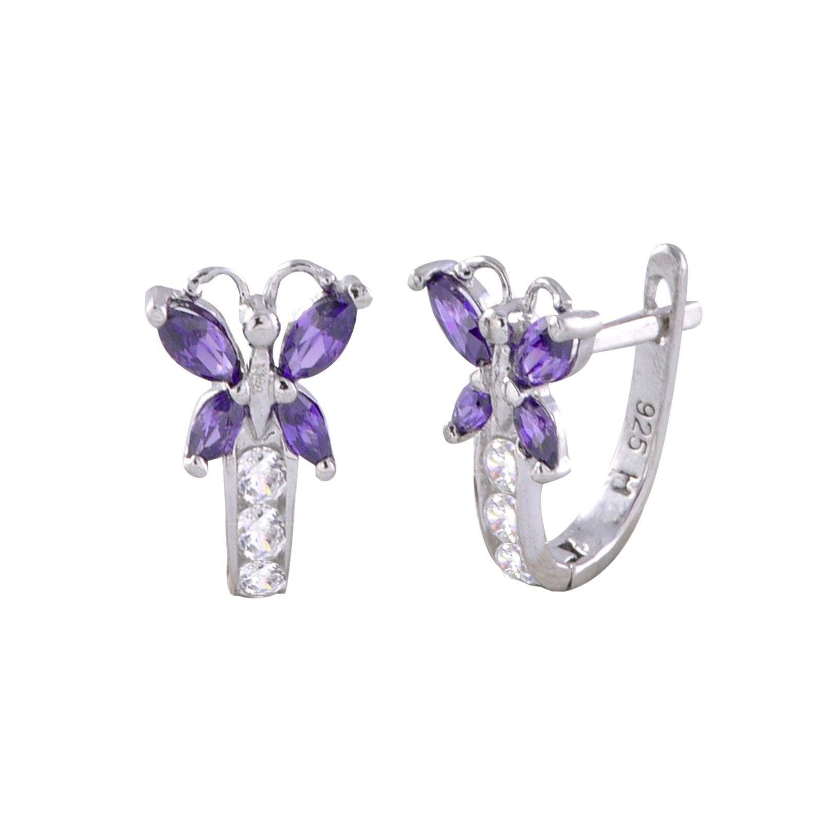 Sterling Silver Leverback Earrings Butterfly Cz Birthstone Colors  Two  Color