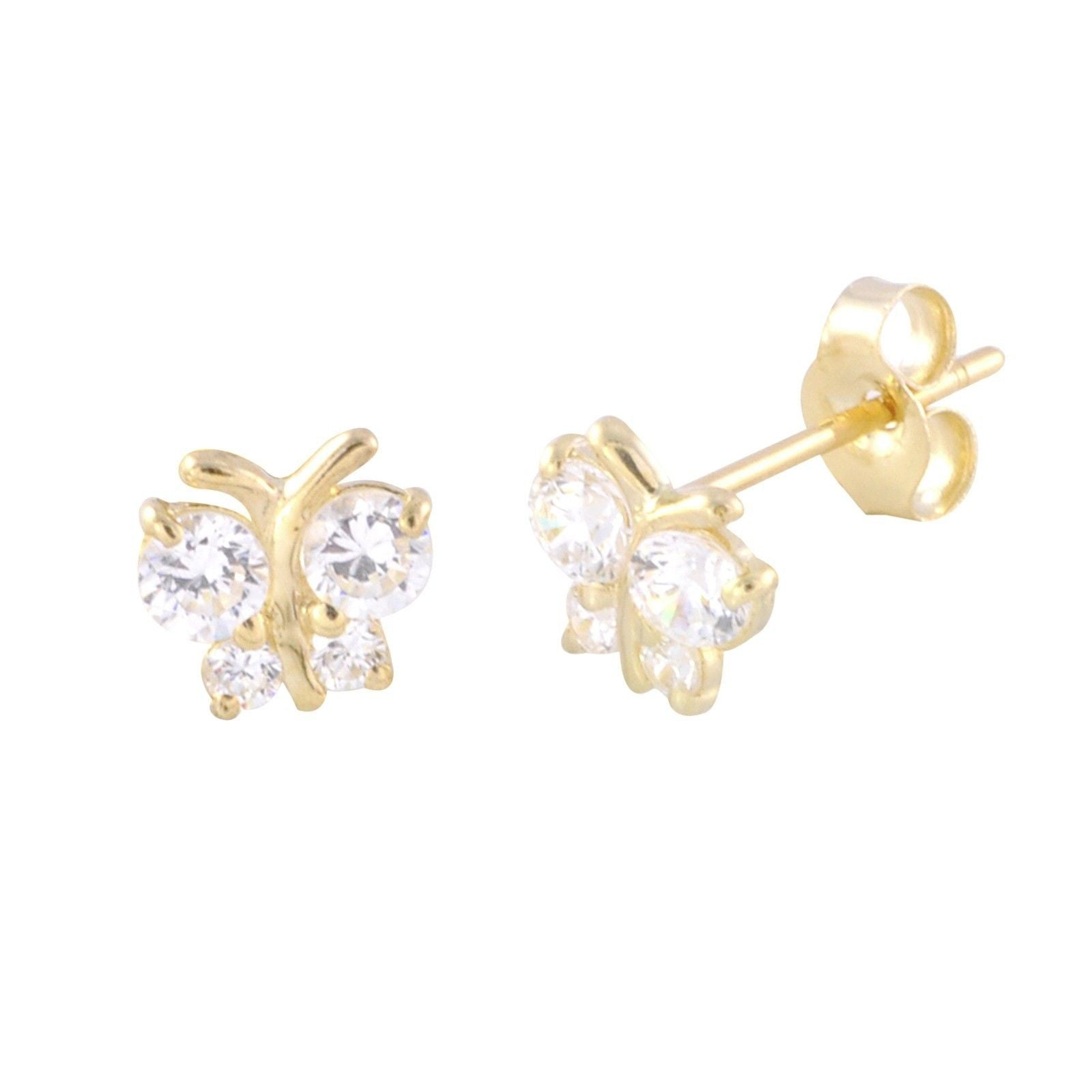 designer jewelry diamond bloomingdale in lyst gold tw ct bloomingdales pave earrings white s stud butterfly women pav