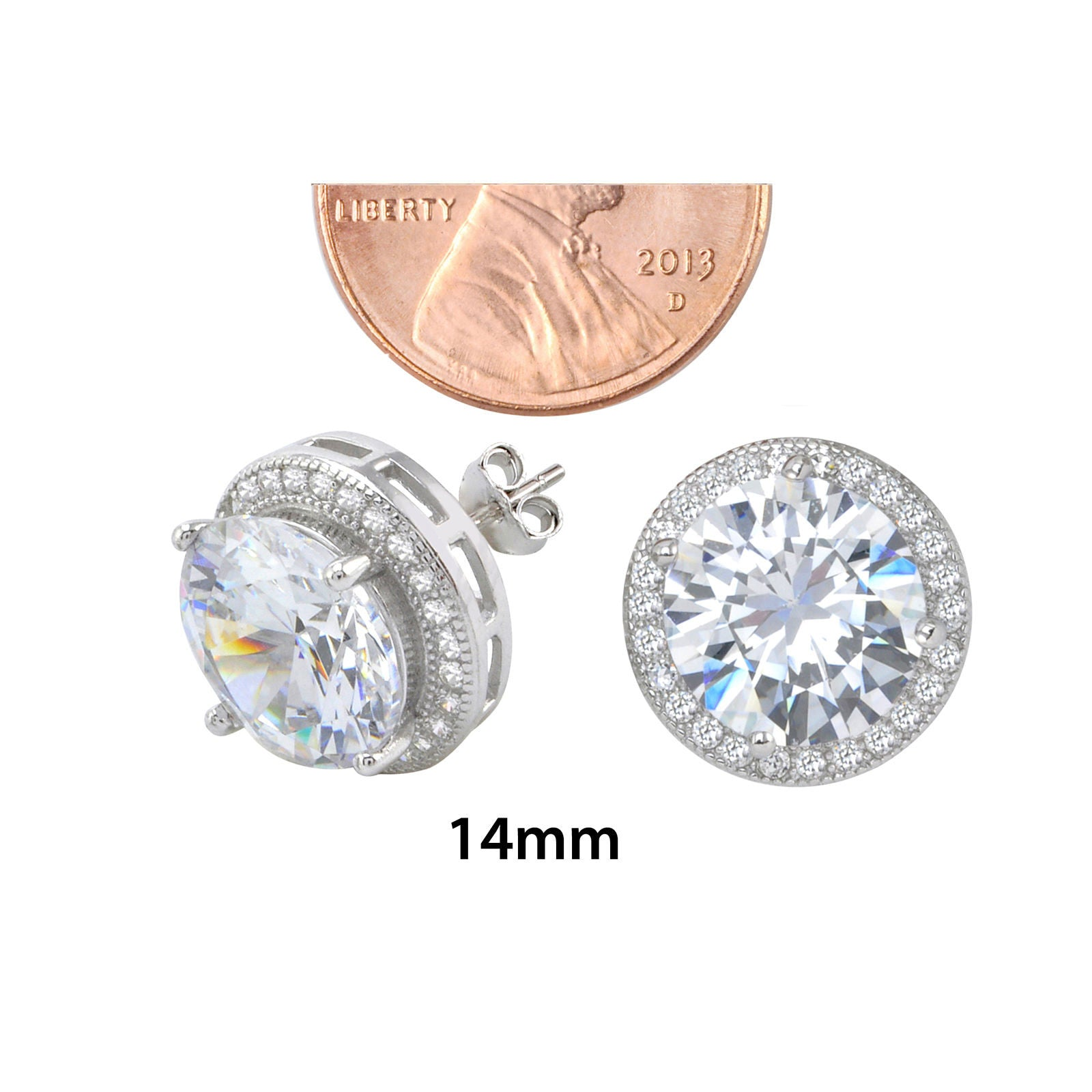fullscreen earrings in jewelry lyst cubic nadri silver stud metallic zirconia view