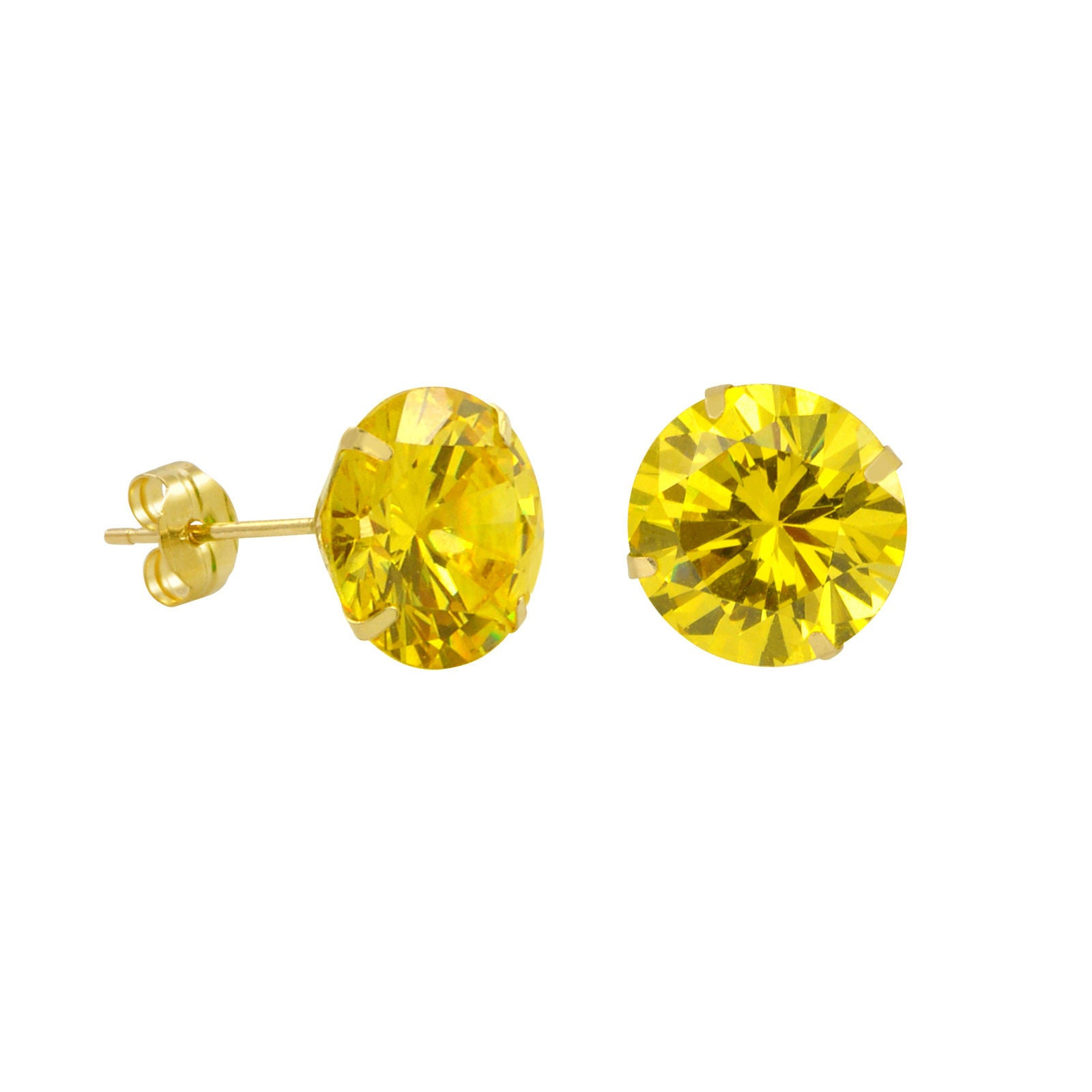 white round stud citrine in gold earrings
