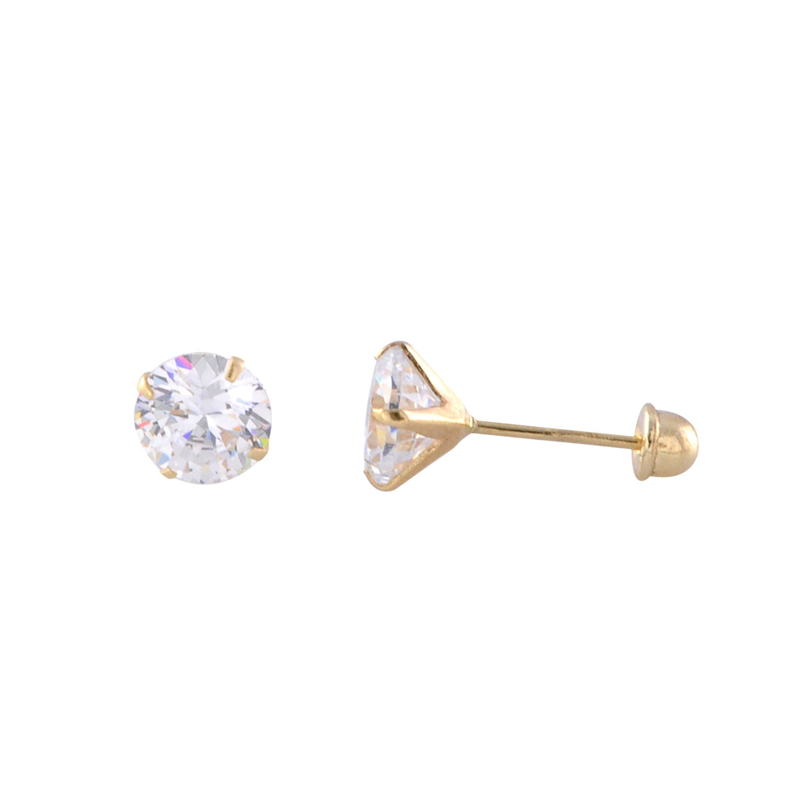10k Yellow Gold Handmade Sculpted Cz Stud Earrings Round 4 Prong Martini  Setting