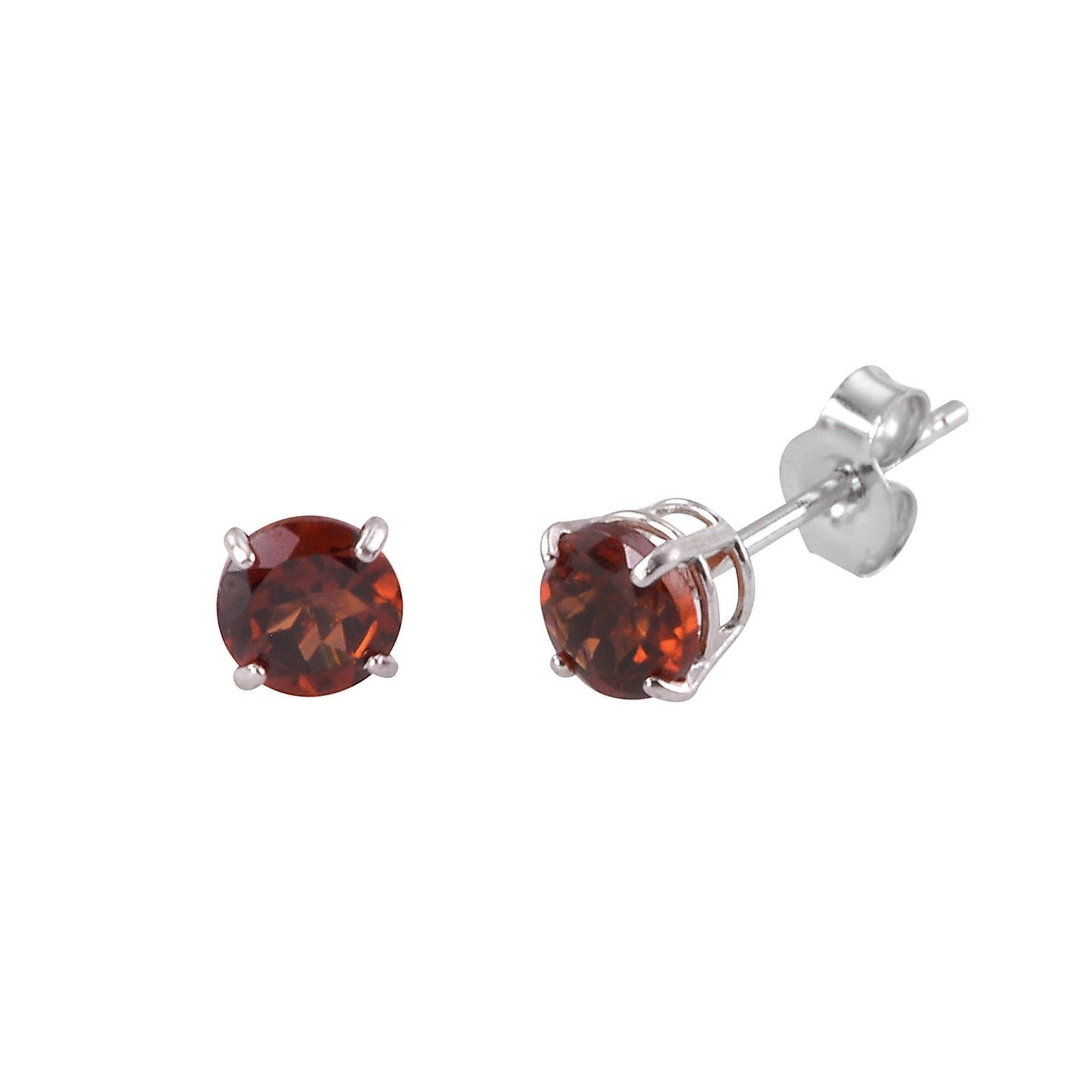 Garnet Earrings 14k White Gold January Birthstone Studs  Genuine Gemstone