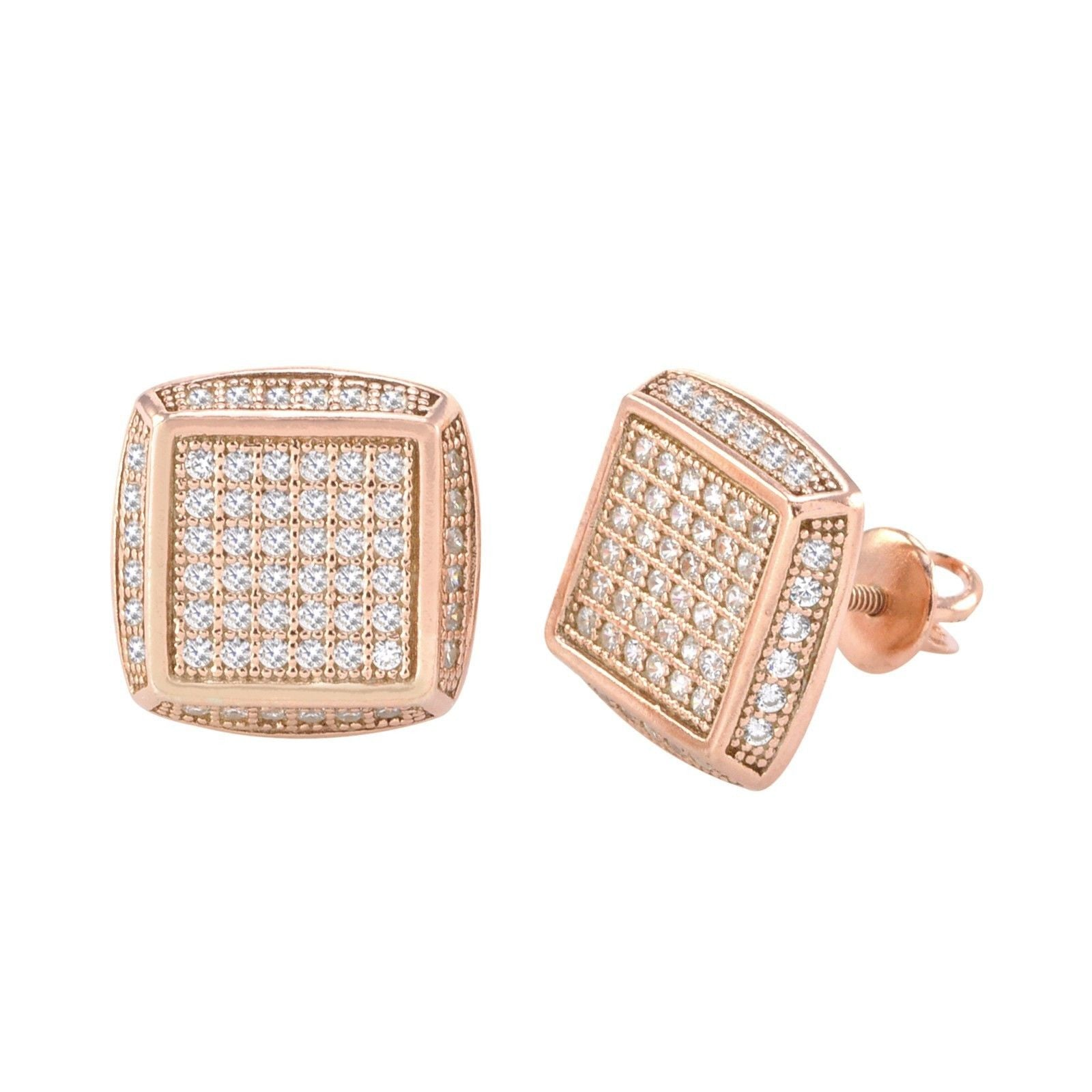 192fe82f4 Sterling Silver Rose Gold Plated CZ Cubic Zirconia Stud Screwback Earr |  Jewelryland.com